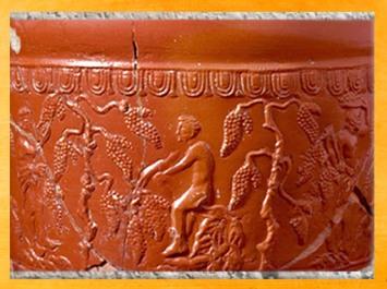 D'après une céramique sigillée, la vigne, Ier-IIe siècles apjc, Gaule Romaine. (Marsailly/Blogostelle)