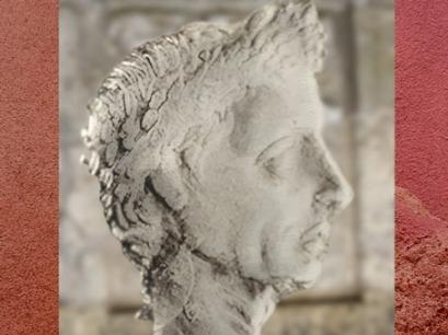 D'après un portrait de Jules César sur un denier romain, Ier siècle avjc. (Marsailly/Blogostelle)