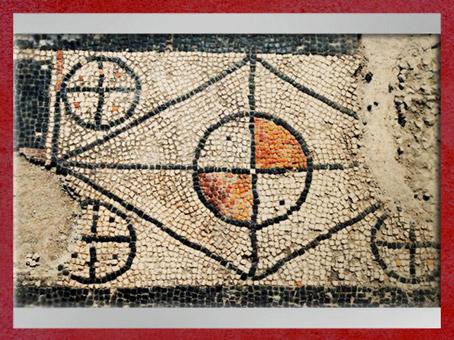 D'après les mosaïques d'Uzès, motifs géométriques,Ier siècle avjc, Gaule Romaine, Gard, France. (Marsailly/Blogostelle)