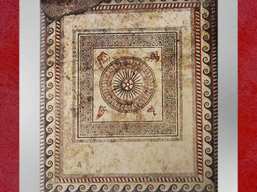D'après le pavement en mosaïque d'Uzès, roue solaire et frises de style grec, Ier siècle avjc, Gard, Gaule Romaine. (Marsailly/Blogostelle)
