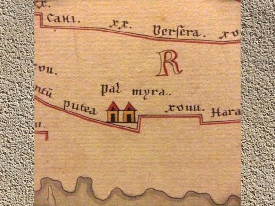 D'après la mention de Palmyre, Table de Peutinger, manuscrit médiéval de la carte d'Agrippa du IIIe-IVe siècle. (Marsailly/Blogostelle)