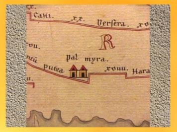 D'après la Table de Peutinger, copie médiévale d'une carte romaine (12-350 apjc), Palmyre. (Marsailly/Blogostelle)