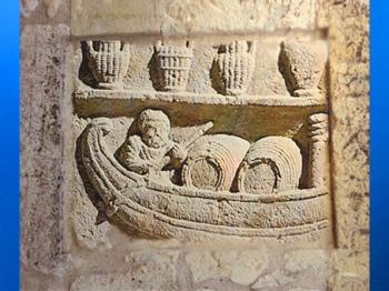 D'après le nautonier, détail, stèle funéraire Les Haleurs de la Durance, Ier siècle apjc, Gaule Romaine, Vaucluse, France. (Marsailly/Blogostelle)