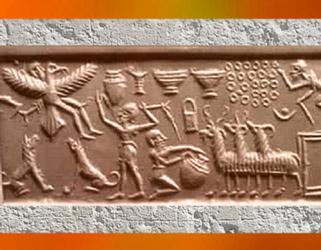 D'après l'art sumérien, sommaire Mésopotamie, histoire de l'Art. (Marsailly/Blogostelle)