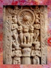 D'après la Roue de la Loi et Lions, pilier d'Açoka, Sânchî 3, Madya Pradesh, Inde du Nord. (Marsailly/Blogostelle)