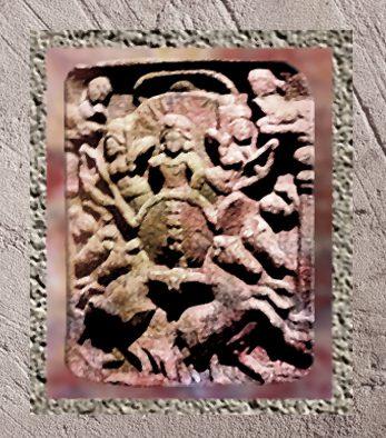 D'après Sûrya, dieu Soleil, relief, balustrade de Bodhgayâ, Ier siècle avjc, Mahârâsthra, Ouest,Inde ancienne. (Marsailly/Blogostelle)