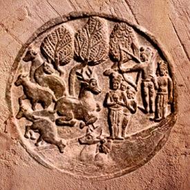 D'après le Jâtaka du Cerf, médaillon sculpté en bas-relief, stûpa de Bhârhut, IIe siècle avjc, Madhya Pradesh, Nord, Inde ancienne. (Marsailly/Blogostelle)