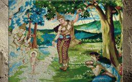D'après une évocation de la naissance de Buddha (peinture, Laos) dans le jardin de Lumbini. (Marsailly/Blogostelle.)