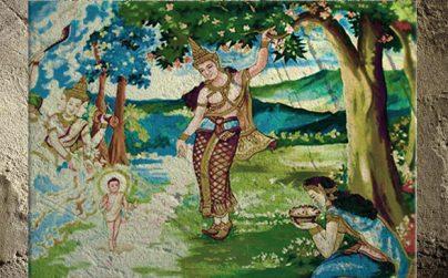 D'après une évocation de la naissance de Buddhadans le jardin de Lumbini, devenu un lieu de pèlerinage, peinture, Laos. (Marsailly/Blogostelle)