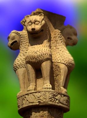 D'après des lions, chapiteaux de Sânchî, dynastie Çunga, IIe et Ier siècles avjc, Madya Pradesh, Nord, Inde ancienne. (Marsailly/Blogostelle)