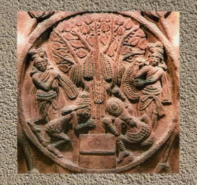 D'après des Yaksha et arbre de l'éveil, Bhârhut, médaillons sculptés, vers le IIe siècle avjc, Madhya Pradesh,Nord, Inde ancienne. (Marsailly/Blogostelle)