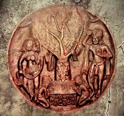 D'après les déités de la végétation, l'Arbre de l'éveil (Boddhi), Bharhût, Madhya Pradesh, Inde du Nord. (Illustration Marsailly-Blogostelle)