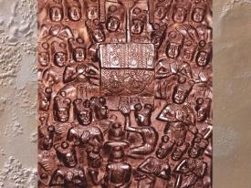 D'après les empreintes du Buddha, symbole de sa spirituelle présence, relief historié, Bhârhut, IIe siècle avjc, Madhya Pradesh, Inde du Nord. (Marsailly/Blogostelle.)