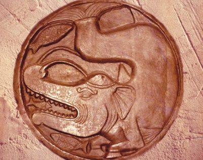 D'après un makara et poisson, médaillon sculpté,Bhârhut, IIe siècle avjc,dynastie Çunga, Nord, Inde ancienne. (Marsailly/Blogostelle)