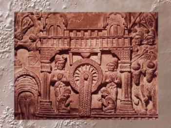 D'après un palais et une scène d'hommage royal à Buddha, relief historié, IIe siècle avjc, Bharhût, Madhya Pradesh, Nord, Inde ancienne. (Marsailly/Blogostelle)