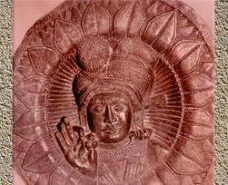 D'après un bas-relief circulaire, personnage masculin coiffé de son turban à boule, stûpa de Bhârhut, IIe siècle avjc, Madhya Pradesh, Inde du Nord. (Marsailly/Blogostelle)