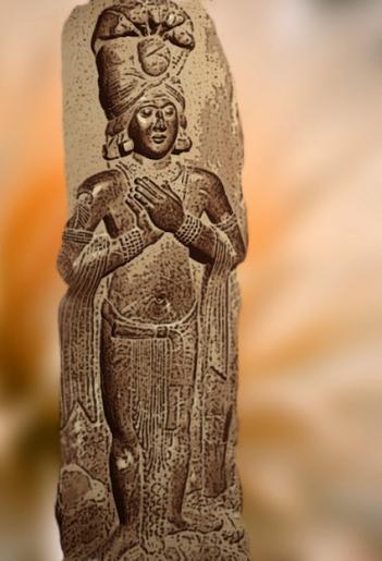 D'après un roi-nâgâ, déité aquatique, Bharhût, Madhya Pradesh, Nord, Inde ancienne. (Marsailly/Blogostelle)