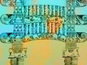 D'après le torana (porte) reconstitué de Bhârhut et ses makaras, IIe siècle avjc, Madhya Pradesh, Nord, Inde ancienne. (Marsailly/Blogostelle)