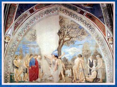 D'après la mort d'Adam, légende de la Vraie Croix, selon Jacques de Voragine, de Piero della Francesca, fresques, 1452-1466, basilique San Francesco d'Arezzo, Renaissance italienne. (Marsailly/Blogostelle)
