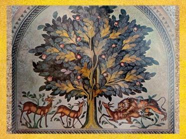 D'après l'Arbre de Vie et les animaux, un symbole du Monde Vivant, mosaïque, VIIIe siècle, art arabe, Khirbat al-Mafjar, Jordanie. (Marsailly/Blogostelle)
