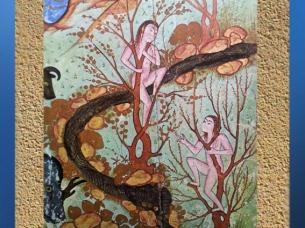 D'après le Livre des Merveilles du Monde, Qazwini, XVIe siècle, art persan. Couple d'arbres, mâle et femelle. (Marsailly/Blogostelle)