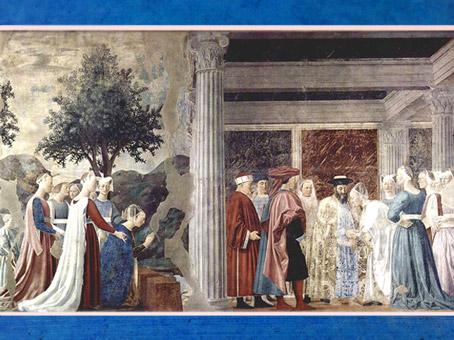 D'après La reine de Saba, le Saint Bois et Salomon, La légende de la Vraie Croix, de Piero della Francesca, fresques, 1452-1466, basilique San Francesco d'Arezzo, Renaissance italienne. (Marsailly/Blogostelle)