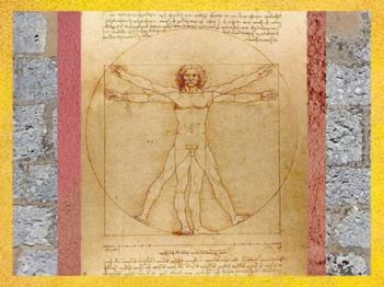 D'après l'Étude des proportions du corps humain selon Vitruve, par Léonard de Vinci, vers 1492, Venise, Italie. (Marsailly/Blogostelle)