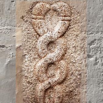 D'après une stèle sculptée, la kundalini, Inde ancienne. (Marsailly/Blogostelle)
