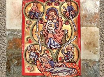 D'après l'Arbre de Jessé, psautier de Scherenberg XIIIe siècle apjc, Strasbourg, art médiéval. (Marsailly/Blogostelle)