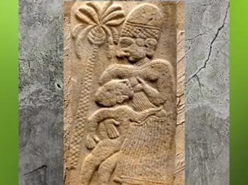 D'après la Déesse-Mère Allaitant auprès de l'Arbre de Vie et de Fertilité, relief, VIIIe siècle avjc, site de Karatépé, Turquie. (Marsailly/Blogostelle)