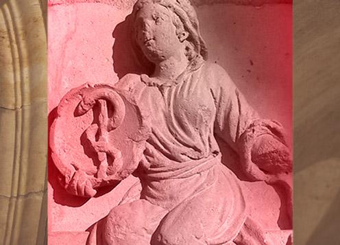 D'après le symbole alchimique du mercure philosophique, Notre-Dame de Paris, XIIe siècle, France. (Marsailly/Blogostelle)