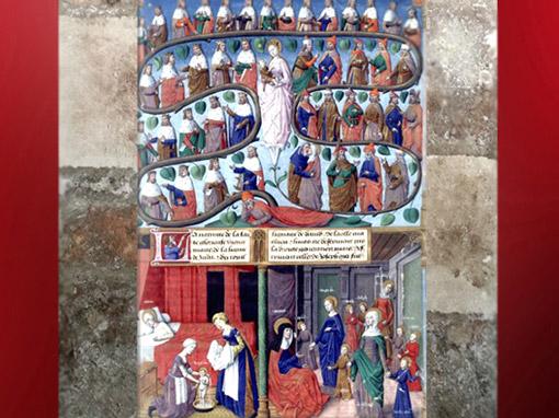 D'après l'Arbre de Jessé, 43 générations, Jacques de Besançon, XVe siècle, inspiré par la Légende Dorée, XIIIe siècle, de Jacques de Voragine. (Marsailly/Blogostelle)