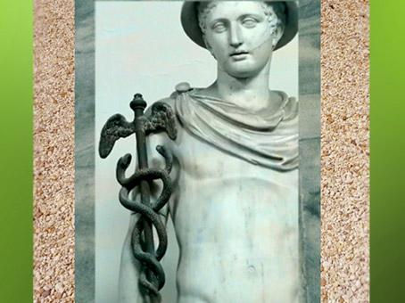 D'après le caducée d'Hermès-Mercure, copie romaine antique d'une sculpture grecque. (Marsailly/Blogostelle)
