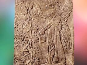 D'après l'Arbre Sacré et une déité ailée, relief du IXe siècle avjc, palais du roi Assurnazirpal II Mésopotamie, Irak. (Marsailly/Blogostelle)
