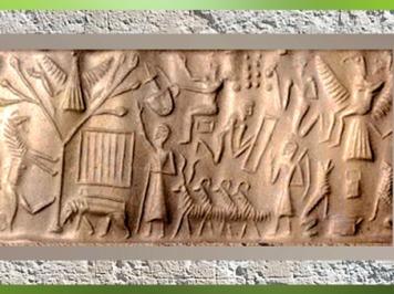 D'après la possible ascension du roi Etana de Kish, sceau, vers 2200 avjc, Mésopotamie. (Marsailly/Blogostelle)