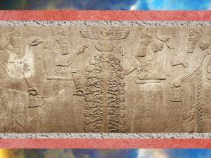 D'après le thème de l'Arbre de Vie mésopotamien, palais du roi Assurnazirpal II, Irak actuel, IXe siècle avjc. (Marsailly/Blogostelle)