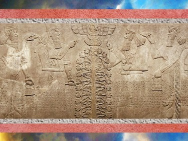 D'après le thème de l'Arbre de Vie, palais du roi Assurnazirpal II, art Assyrien, IXe siècle avjc, Irak actuel. (Marsailly/Blogostelle)