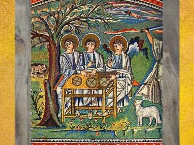 D'après le thème biblique de l'épisode du Chêne de Membré et le Mystère de la Trinité, mosaïque, basilique Saint-Vital (Ravenne), VIe siècle, Italie. (Marsailly/Blogostelle)