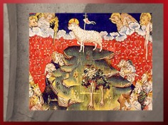 D'après l'Agneau Mystique, avec les Deux Arbres, Tenture de l'Apocalypse, fin XIVe siècle, Angers. (Marsailly/Blogostelle)