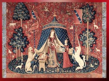D'après la Dame à la Licorne, vers 1500 apjc, À Mon Seul Désir,tente et pilier central, art médiéval. (Marsailly/Blogostelle)
