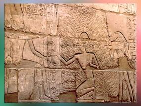 D'après les gravures en creu du temple de Karnak, Pharaon et l'Arbre de Vie,Nouvel Empire (1555 avjc -1080 avjc), Égypte ancienne. (Marsailly/Blogostelle)