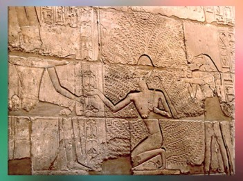 D'après Pharaon et l'Arbre de Vie, gravures en creu, temple de Karnak, Nouvel Empire vers 1555 avjc -1080 avjc, Égypte ancienne. (Marsailly/Blogostelle)