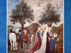D'après La reine de Saba devant la poutre de Bois Saint, La légende de la Vraie Croix, de Piero della Francesca, fresques,1452-1466, basilique San Francesco d'Arezzo, Renaissance italienne. (Marsailly/Blogostelle)