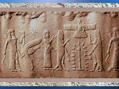 D'après l'Arbre ou Pilier Sacré, poissons-carpes d'Ea, et oiseau,sceau sumérien, IIe millénaire avjc. (Marsailly/Blogostelle)