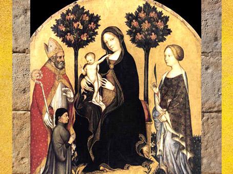 D'après la Vierge à l'Enfant, Deux Arbres et anges, Gentile da Fabriano, début XVe siècle, Italie. (Marsailly/Blogostelle)