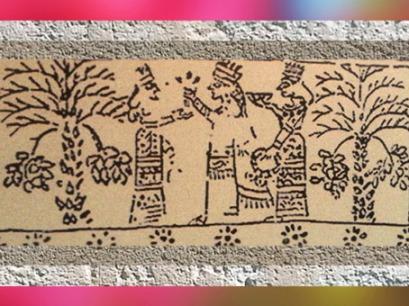 D'après le schéma d'une scène cultuelle et palmiers-dattiers, ivoire gravé, Assur, Irak, Mésopotamie. (Marsailly/Blogostelle)