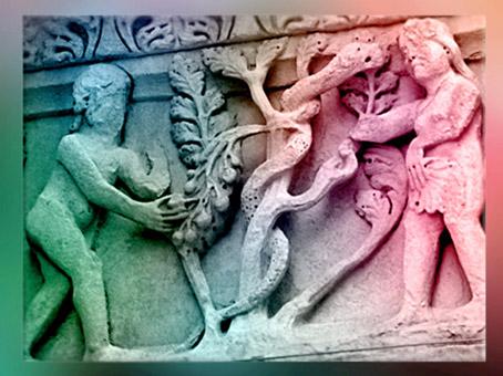 D'après l'Arbre du Paradis et le Serpent dans l'iconographie médiévale, Saint-Trophime, art roman, XIIe siècle, Arles, France. (Marsailly/Blogostelle)