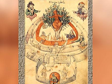 D'après l'iconographie alchimique, Arbre - Athanor. (Marsailly/Blogostelle)