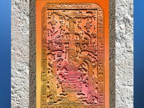 D'après l'Arbre de vie et l'oiseau Quetzal, dalle funéraire du roi Pakal, VIIe siècle, Palenque, art Maya. (Marsailly/Blogostelle)