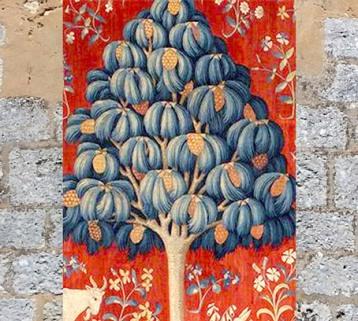 D'après le Pin, détails de la tapisserie médiévale La Dame à la Licorne, À Mon Seul Désir,vers 1500 apjc, France. (Marsailly/Blogostelle)